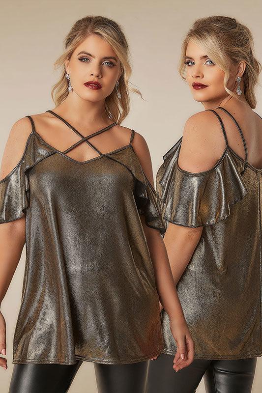 Guldmetalliskt topp med cold shoulder