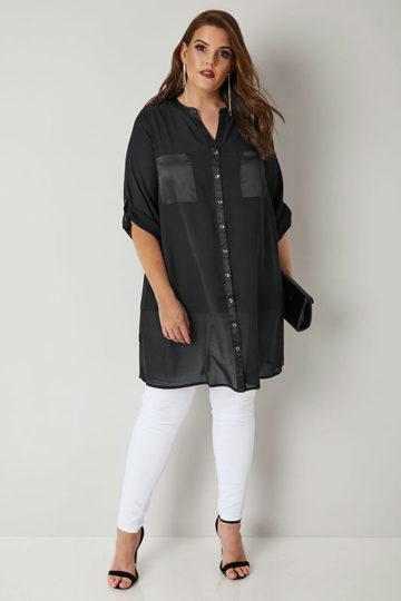 Lång svart skjorta med sidenkanter