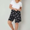 Dra-på shorts med blomtryck