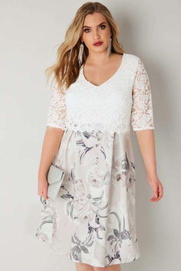 Midiklänning med blomtryck